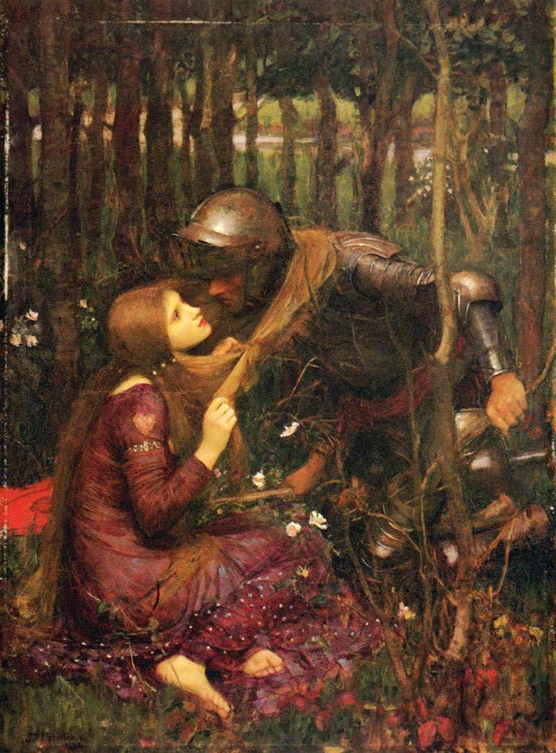 realism oil paintings of woman with long red hair pulling medieval  knight down for a kiss in the forest, pre raphaelites John William Waterhouse artist la Belle Dame sans Merci Silver Oak Art Blog Valentines Day