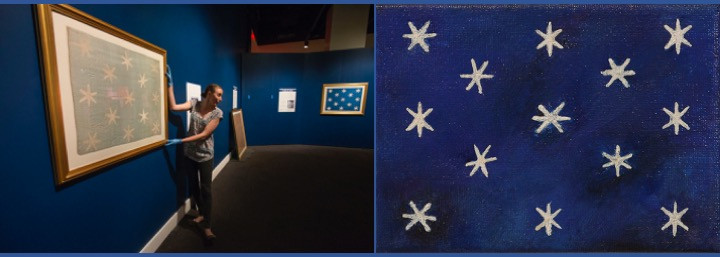 photo of General George Washington headquarters flag from American Revolution Museum and painting of 6 pointed multiple star flag by Silver Oak Art
