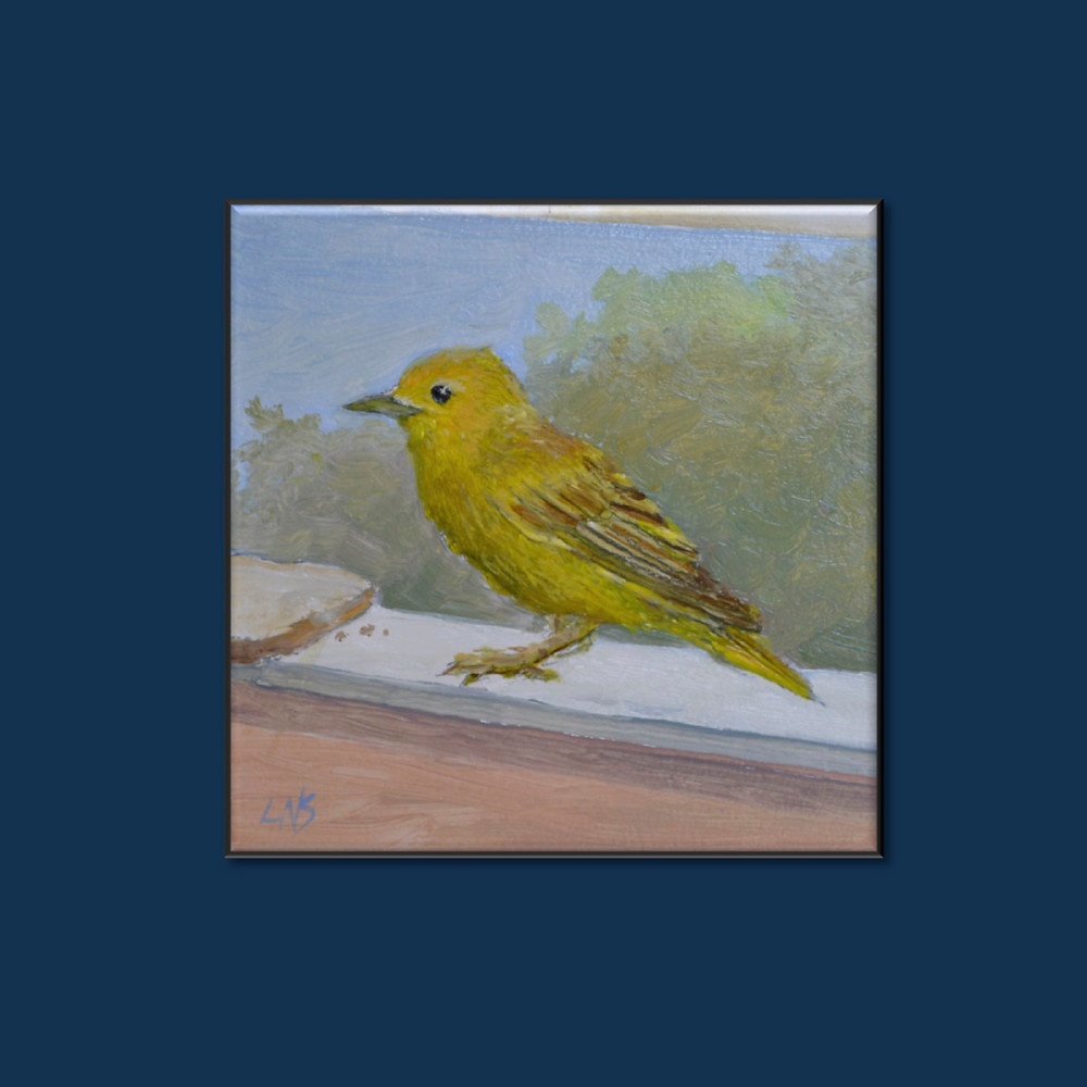 petite realism oil painting photo of a yellow bird on a window sill facing a piece of bread with a few crumbs during the day by L. Nicholas Smith at Silver Oak Art Army Cadence