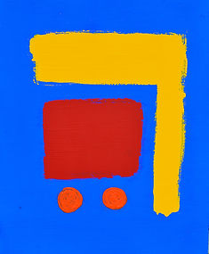 abstract art painting by Nick Watson Bulverde Texas the Makery blue yellow line, red box, orange circles