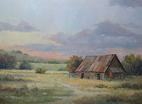 old Texas barn landscape, (c) Patty Thomas artist Ingram Texas