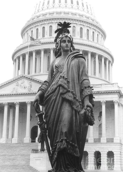 Statue of Freedom black and white photo with US capitol building behind by Daniel Teafoe Silver Oak Art