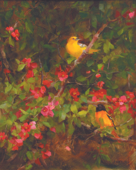 Quince and Orioles by Kathy Anderson oil painters of america gold medal winner in realism art oil painting 2021 silver oak art promotion