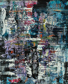 Nick Watson abstract painting black purple, blue paint