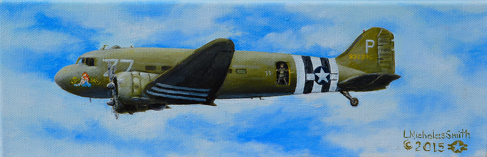 c-47 Skytrain with D-day landing stripes WWII oil on canvas painting