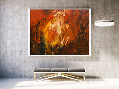 contemporary painting with red yellow an gold hanging on wall with bench and light by L. Nicolas Smith