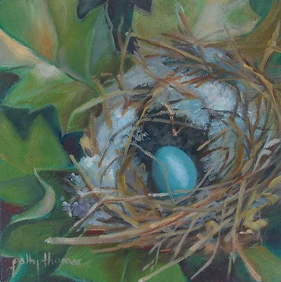 blue egg in nest (c) Patty Thomas, artist, from Ingram Texas