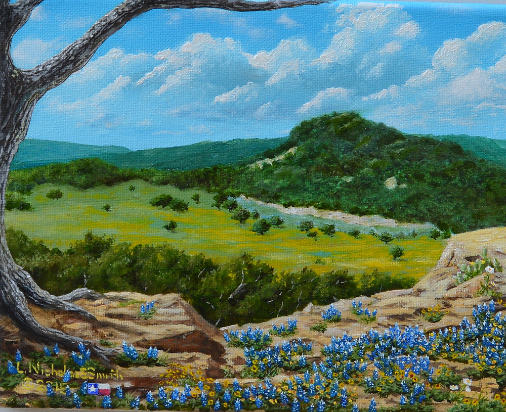 Wimberley Bound painting. Blanco River, hills, bluebonnets