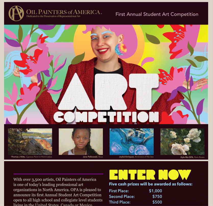 art competition for students information flyer 2021 hosted by oil painters of america