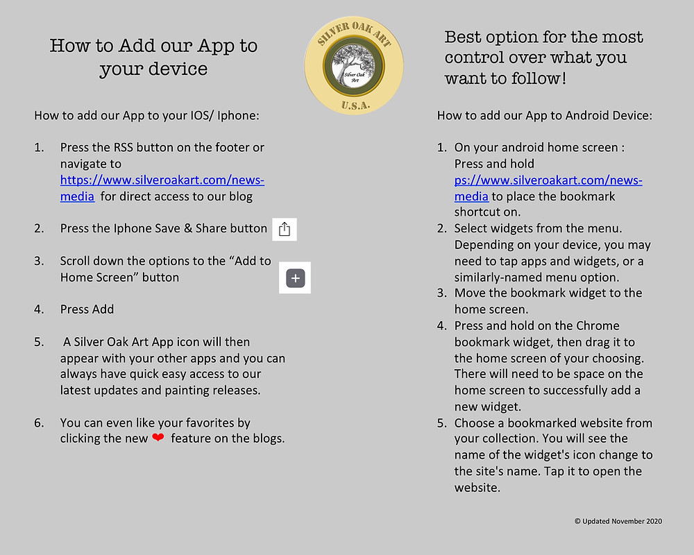 instructions on how to add the Silver Oak Art app directly to your iphone or android device