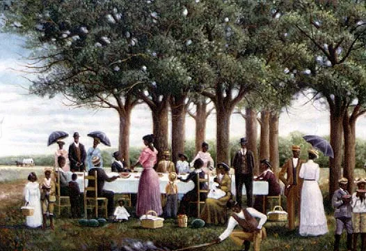 Juneteenth Picnic by Arthello Beck Jr. oil painting of black Americans having a picnic on anniversary of freedom from slavery Texas Silver Oak Art
