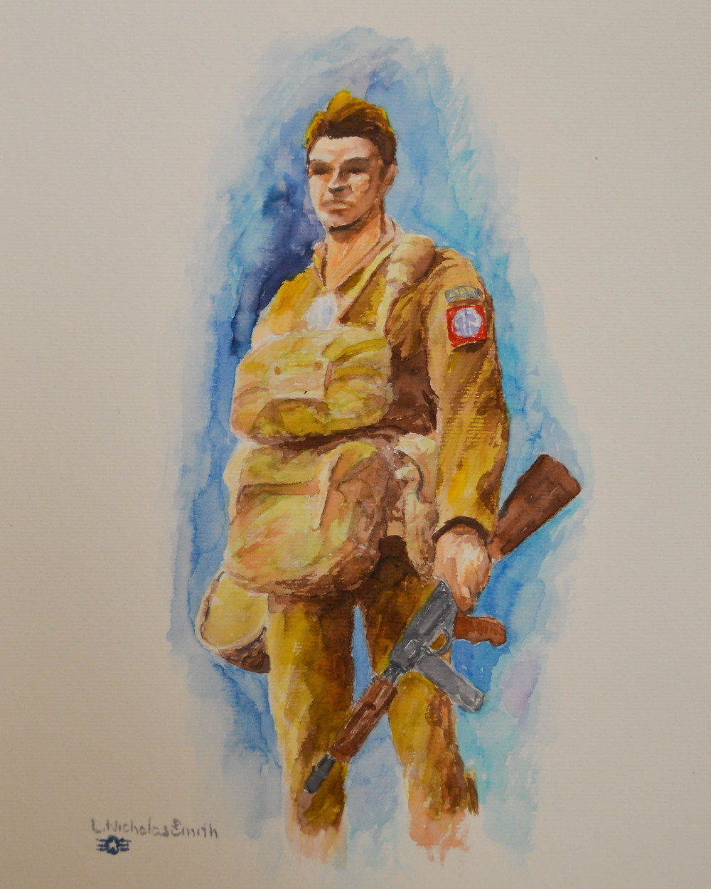 82nd Airborne Paratrooper, US Army, watercolor painting by L. Nicholas Smith
