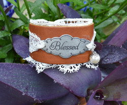 """Leather 'N Lace """"Blessed"""" Cuff"""