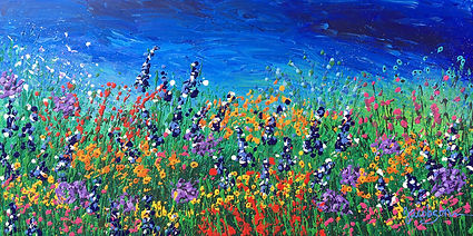 wildflowers, realism, painting, field of flowers with blue sky