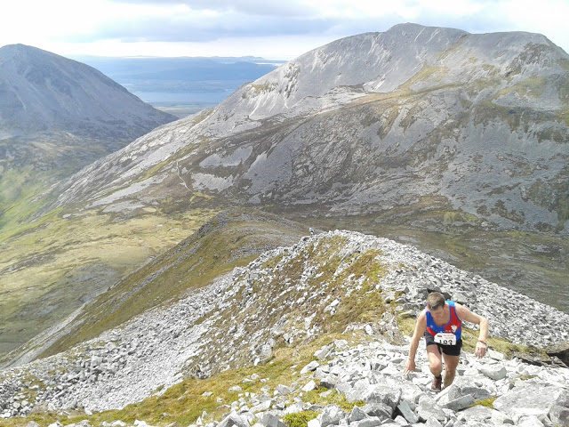 Looking back from Beinn Shiantaidh (Alan Elder climbing)