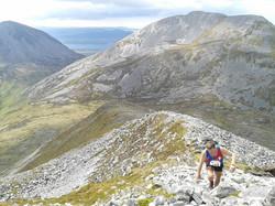 Looking back from Beinn Shiantaidh (Alan Elder climbing)