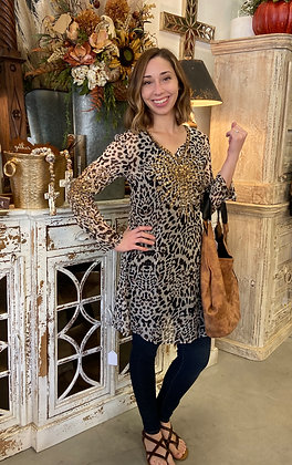 Printed Tiger Eye Embellished Tunic