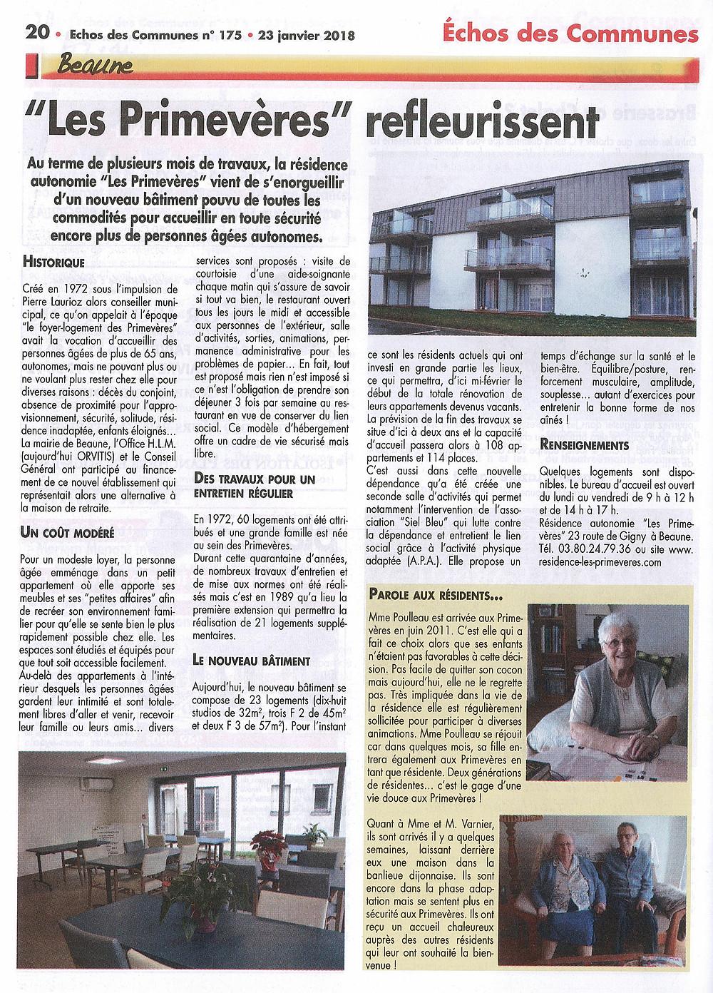 Remerciements à nos résidents: Paulette, Claudine et Michel et ECHOSdCOM