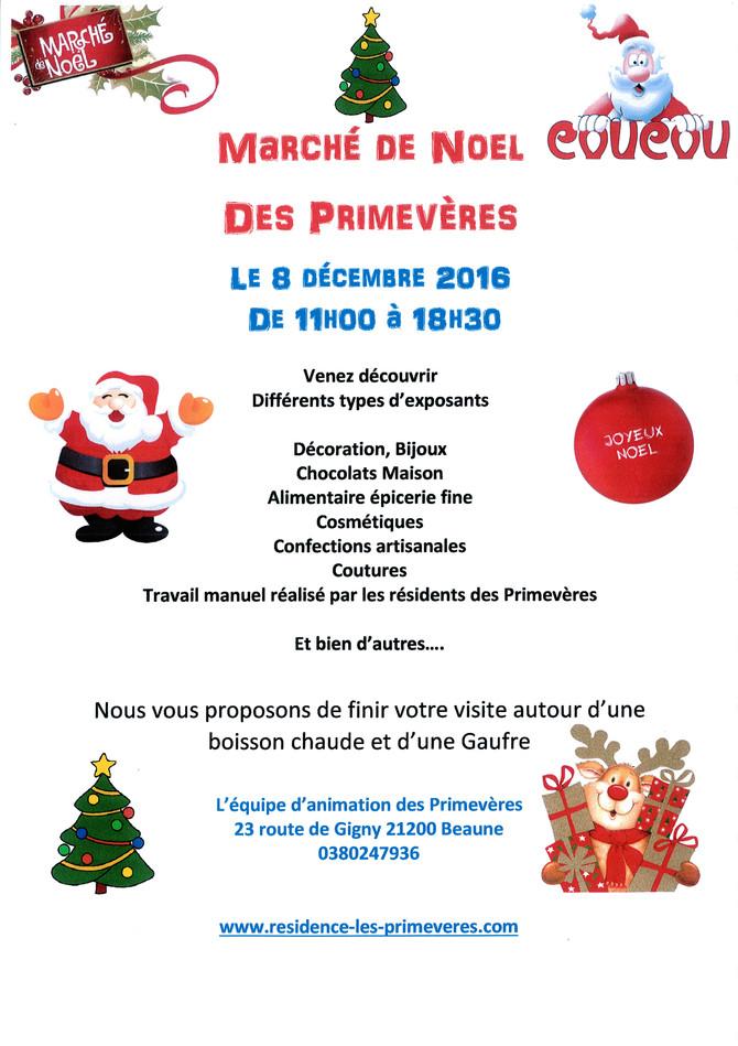 Jeudi 8 décembre 2016 Marché de Noël des Primevères