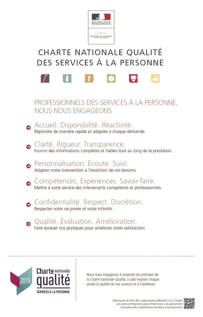 PRIMA SERVICES adhère la Charte Nationale Qualité des Services à la personne