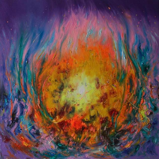 Cosy Mind Blown. Fluorescent oil on canvas. 50cm x 50cm