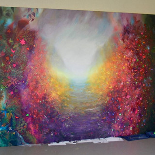 Otoño. Fluorescent oil on canvas 2m x 3m (meters)