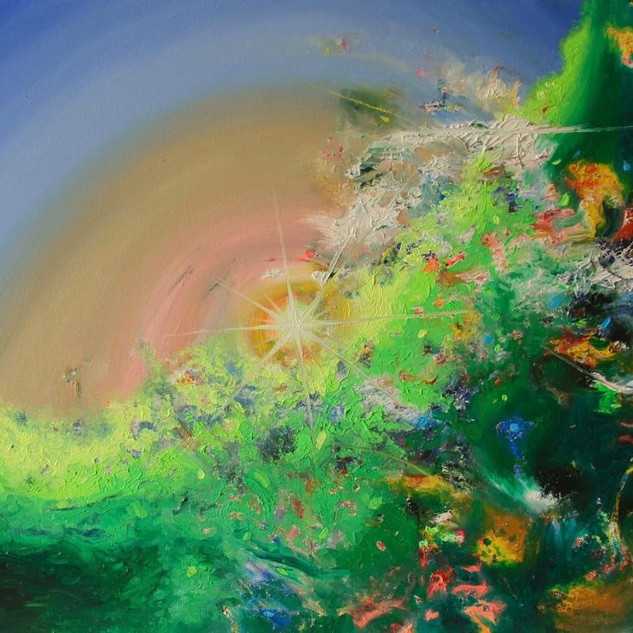 The Green Frontier. Fluorescent oil on canvas  50cm x 70cm