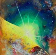 The Outcome. Fluorescent oil on canvas. 70cm x 50cm