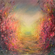 Heartway. Fluorescent oil on canvas. 40cm x 50cm