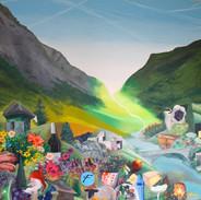 Valais. Fluorescent oil on canvas 2m x 3m (meters)