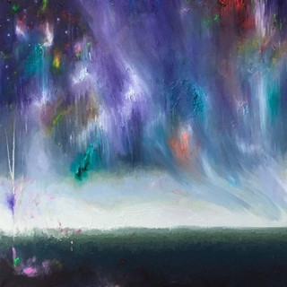 Rain. Fluorescent oil on canvas 50cm x 50cm
