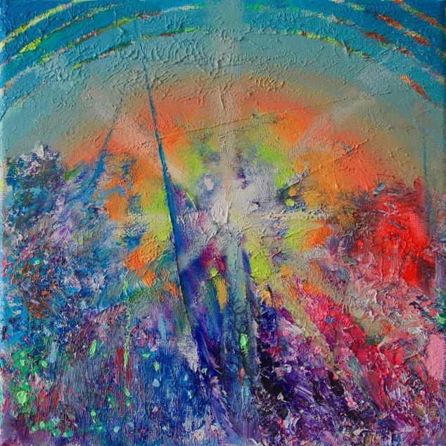 The Postsound. Fluorescent oil on canvas 20cm x 20cm
