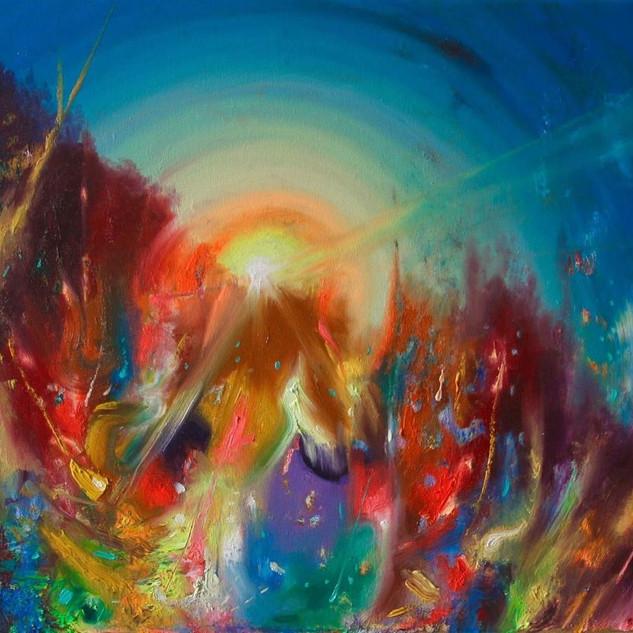 The Reborn Flame. Fluorescent oil on canvas. 40cm x 50cm