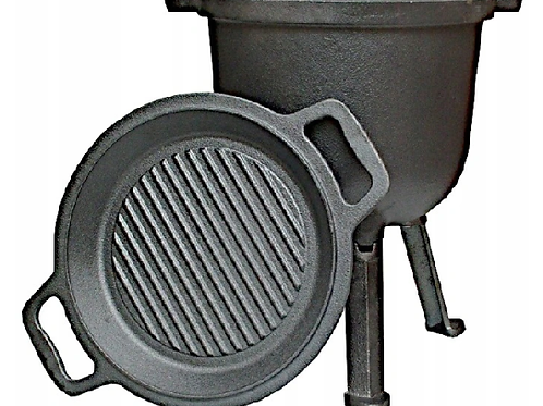 Feuerkessel, gusseiserner Topf mit Bratpfanne