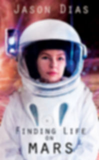 A young woman in a space suit on Mars, its moos reflecte in her faceplate.