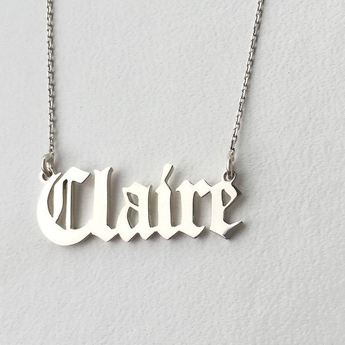 Old English Font Name Necklace 925 Sterling Silver