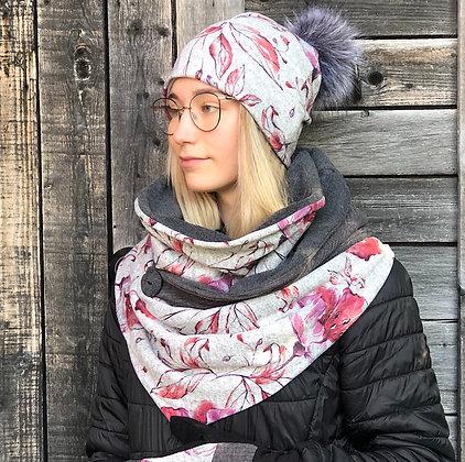 Foulard écharpe gris et rose