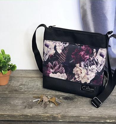 #405 Petit sac Percé fleurs mauves