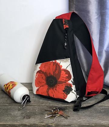 #810 Sac à dos bandoulière fleur rouge