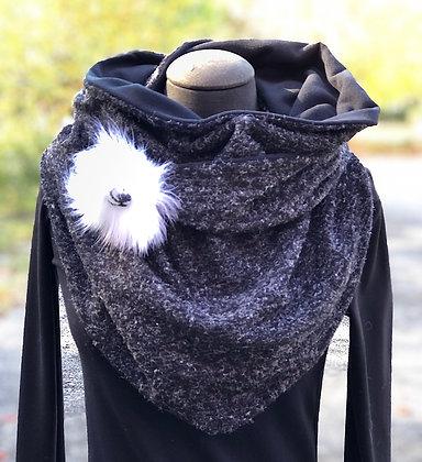 Foulard écharpe noir moucheté