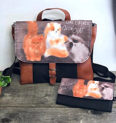 Sac à dos et sac transformable chat