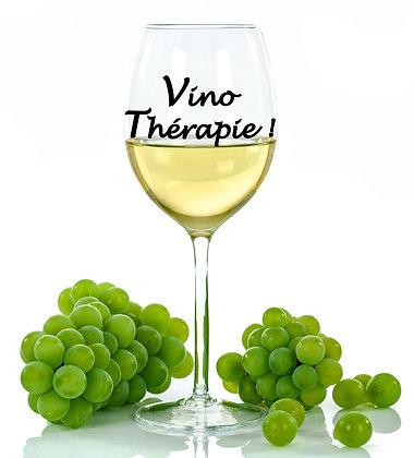 Décalque de vinyle pour verre à vin avec texte Vino Thérapie