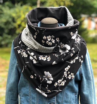 Foulard écharpe noir et gris