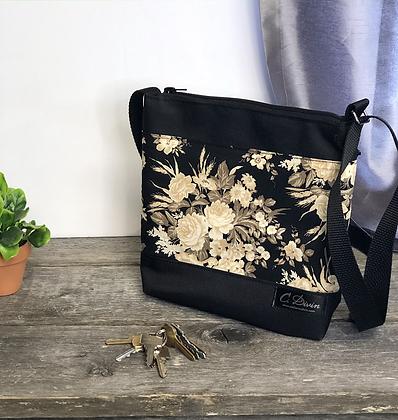 #406 Petit sac Percé fleurs beiges