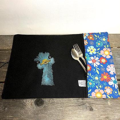 Napperon et sac collation autruche