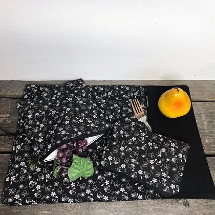 #18 Napperon et  sac collation petites fleures
