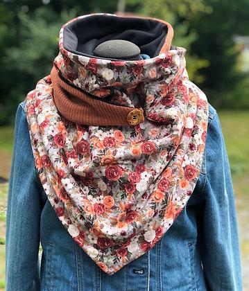 Foulard écharpe fleuri orangé