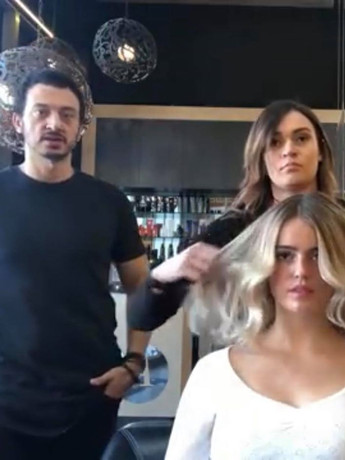 Brooke and Adam filming Youtube video in his Canberra salon Sep 2018