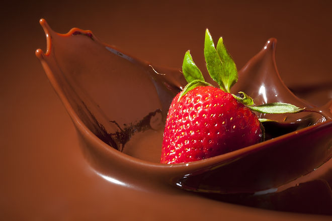 Strawberry Splashing in Milk Chocolate.j