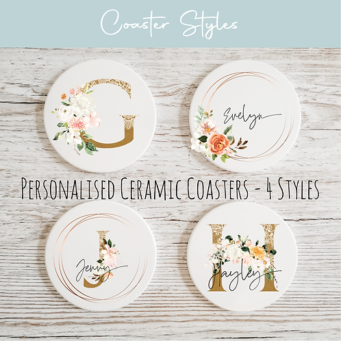 Personalised Ceramic Coasters - Copper & Floral